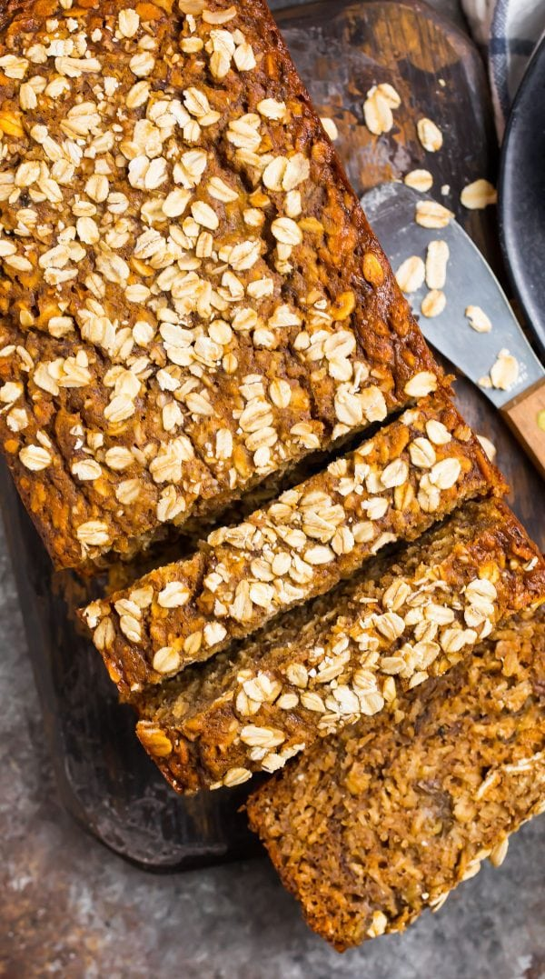 Delicious and healthy oatmeal banana bread topped with oats