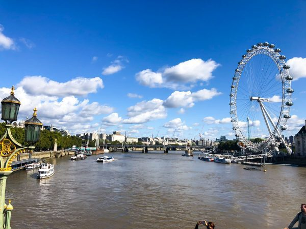 Thames River with view of London Eye