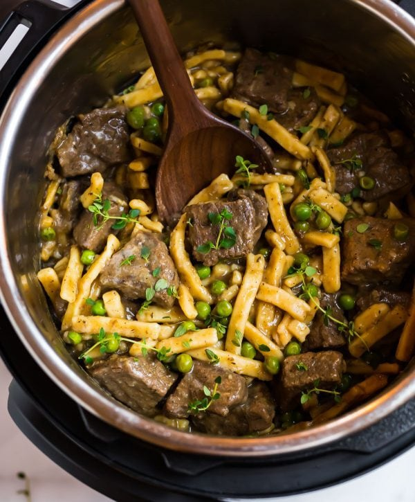 Easy and tasty pressure cooker beef and noodles in an Instant Pot