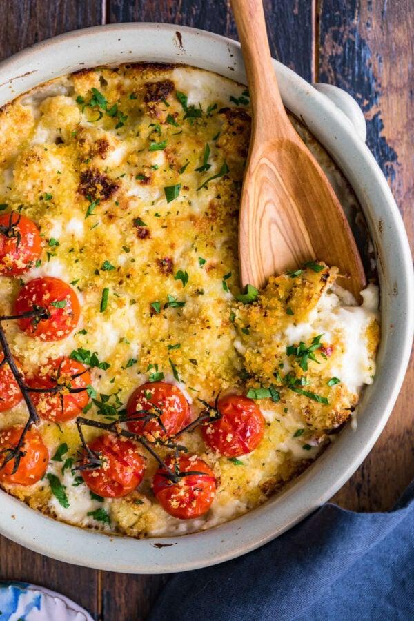 Thanksgiving Side Dish Cheesy Cauliflower Gratin