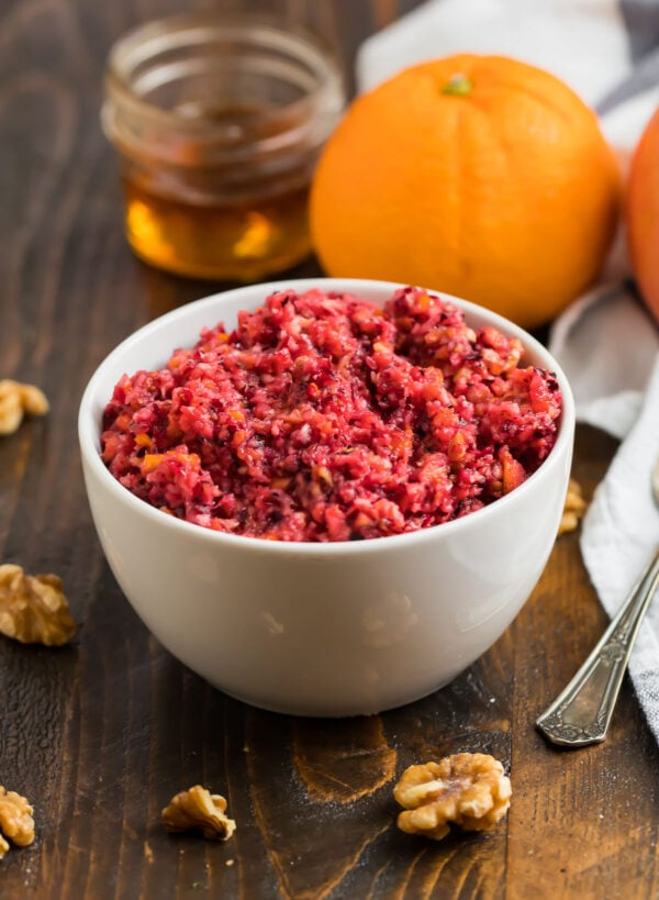 Easy old fashioned cranberry orange relish served in a bowl