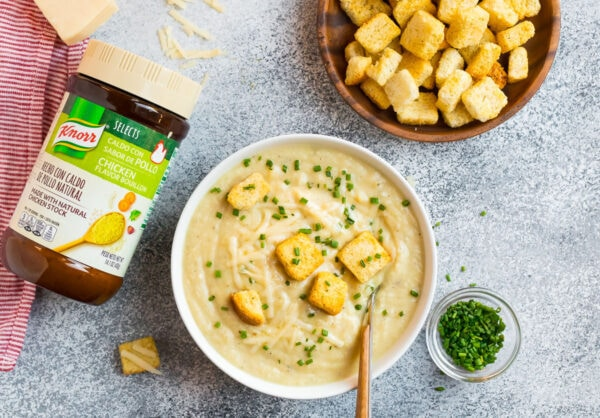 Instant pot potato soup without chicken broth served in a bowl