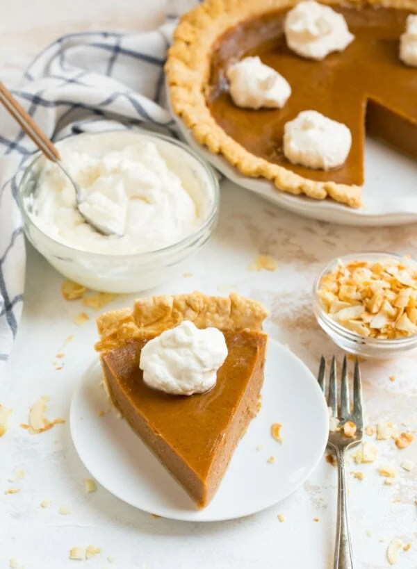 Old fashioned sweet potato pie made without nutmeg served on a plate