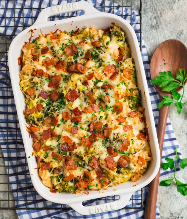 A dish of chicken bacon ranch casserole with rice and melted cheese