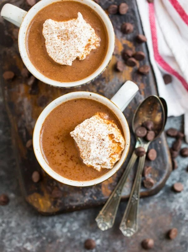 Hot chocolate recipe made with healthy ingredients served in mugs with whipped cream
