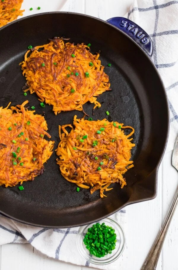 Easy hash browns in a skillet made with sweet potatoes