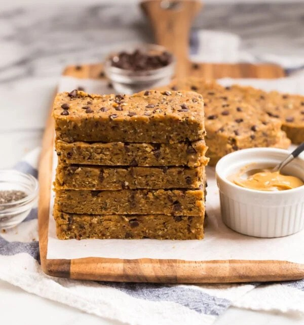 A stack of easy vegan protein bars made with peanut butter