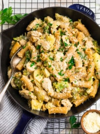 Chicken Broccoli Ziti with a creamy garlic sauce in a skillet