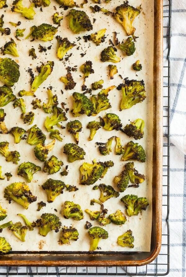 Crispy healthy frozen broccoli on a sheet pan