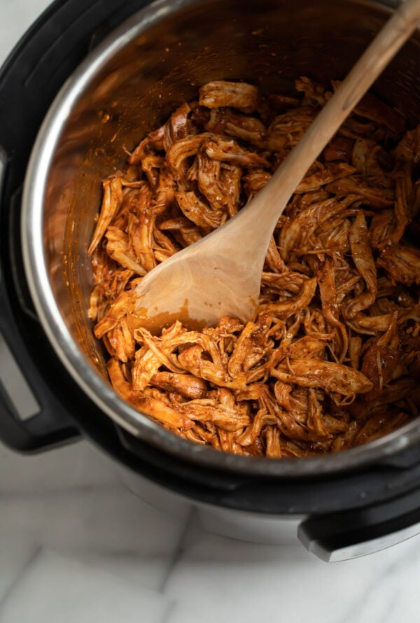 Delicious and flavorful shredded chicken breasts in an Instant Pot