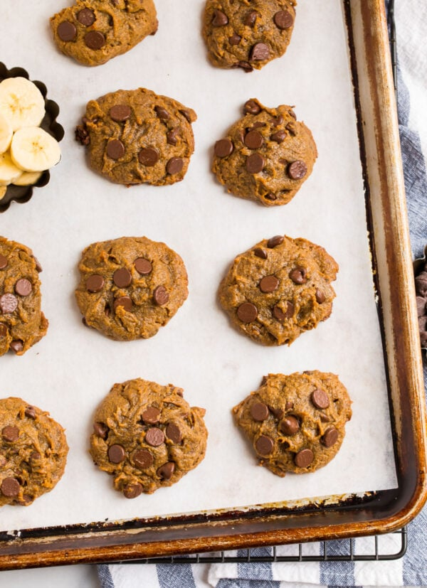 Easy, gooey chocolate peanut butter cookies on a baking sheet