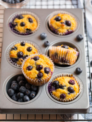 A muffin pan with blueberry coconut flour muffins