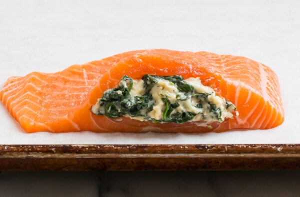 A salmon fillet stuffed with a spinach cream cheese mixture