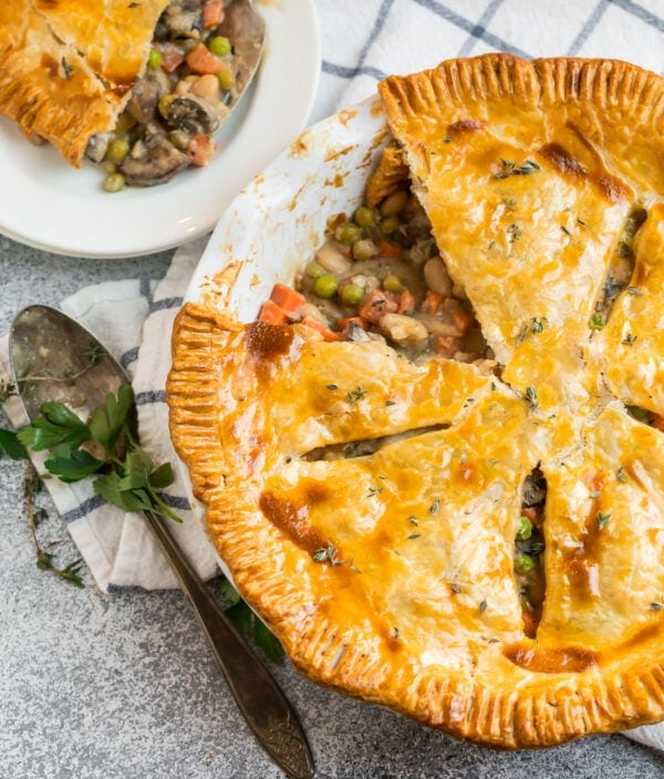 Healthy vegetable pot pie in a pie with with mushrooms and beans