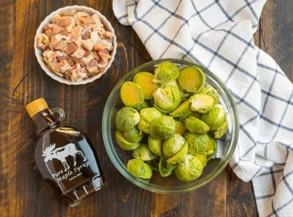 Ingredients to make crispy maple bacon Brussels sprouts