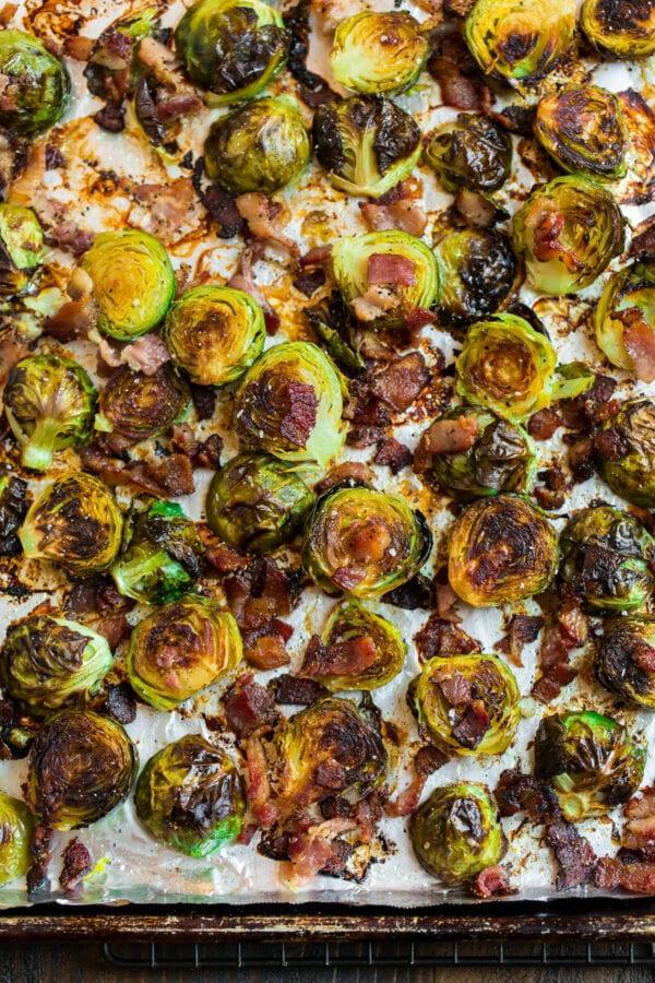 Crispy roasted vegetables on a baking sheet