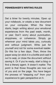 Pennebaker's Writing Rules