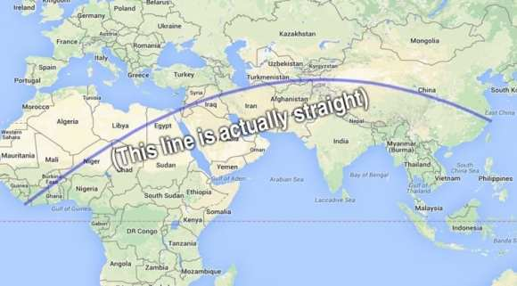 The longest straight line you can walk without hitting the ocean