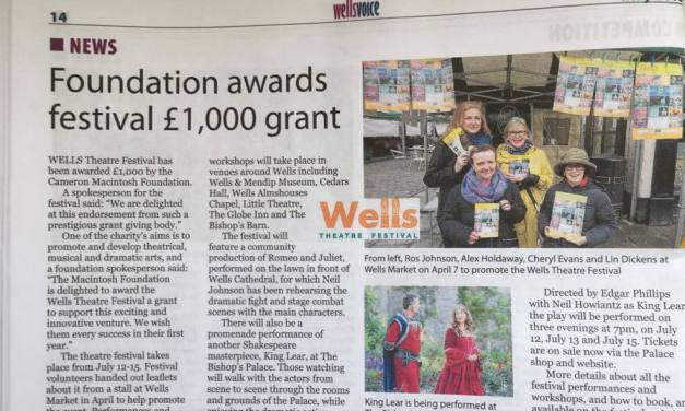 £1000 grant from the Cameron Mackintosh Foundation