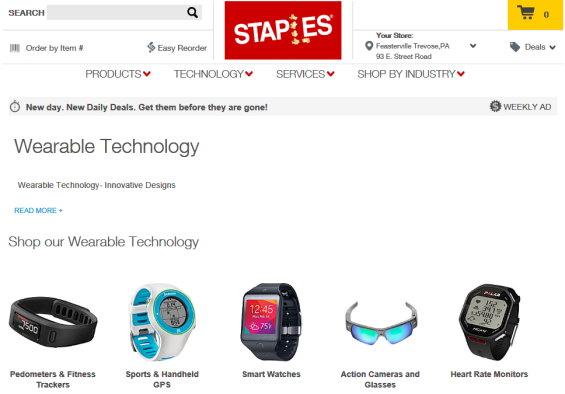 Staples Puts On Wearables