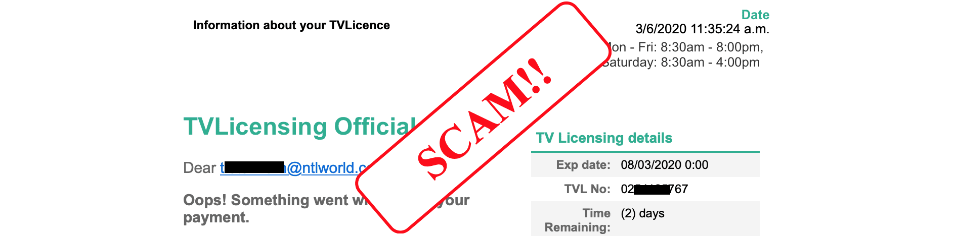 how to spot a scam email - tv licence scam .
