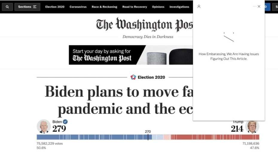 meantime - bias detection plugin - us election - washington post