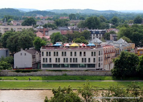 Communist-era hotel across the river Vistula from the castle tower