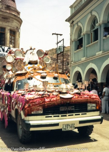 Cars decorated with all the tin the owners can find lead off many of the parade groups