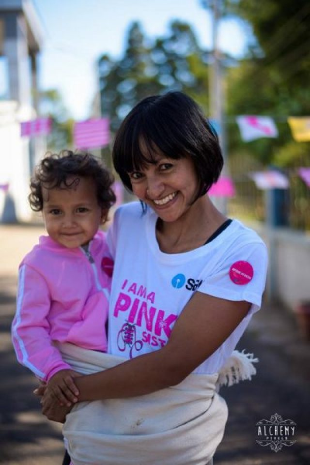 Habari,ran the Pinkathon with her baby. She definitely looks thrilled.