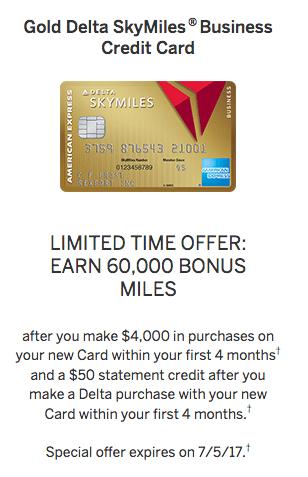 business Amex Gold Delta SkyMiles Card Sign-up Bonus