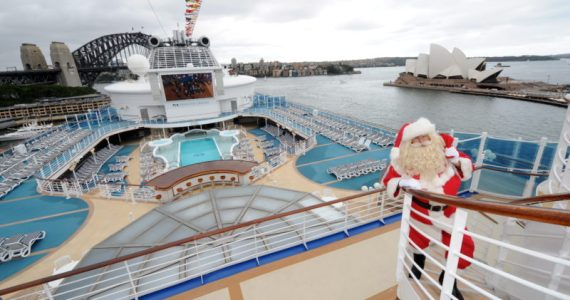 Diamond Princess, Sydney Harbour - Santa Claus visit. Image credit: James Morgan