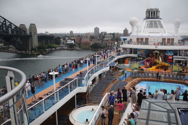 Ovation of the Seas top deck departing Sydney.
