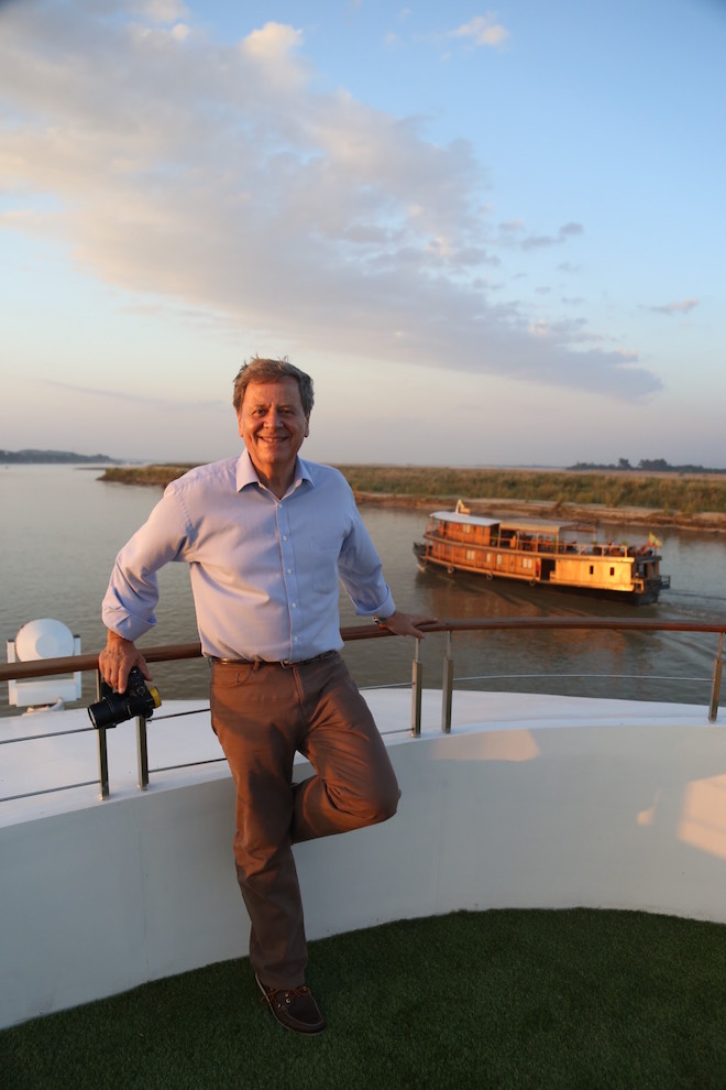 Ray Martin on Scenic Aura along the mystical Irrawaddy. Image credit Scenic.