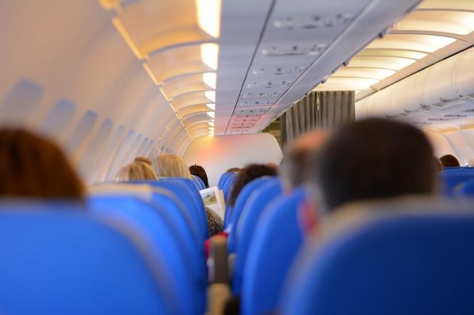 Passengers onboard an aircraft.