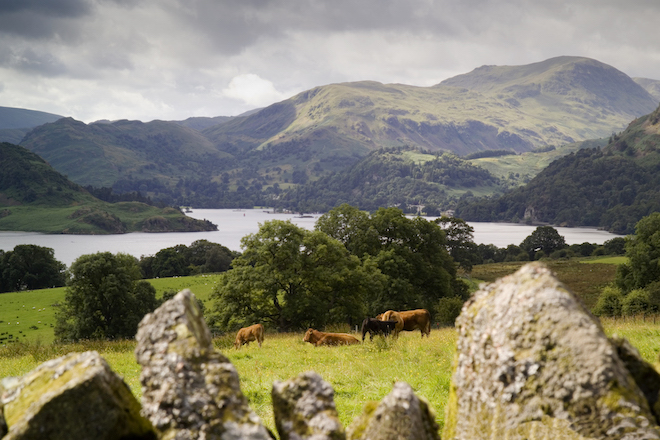 Landscape near Ullswater in the Lake District.