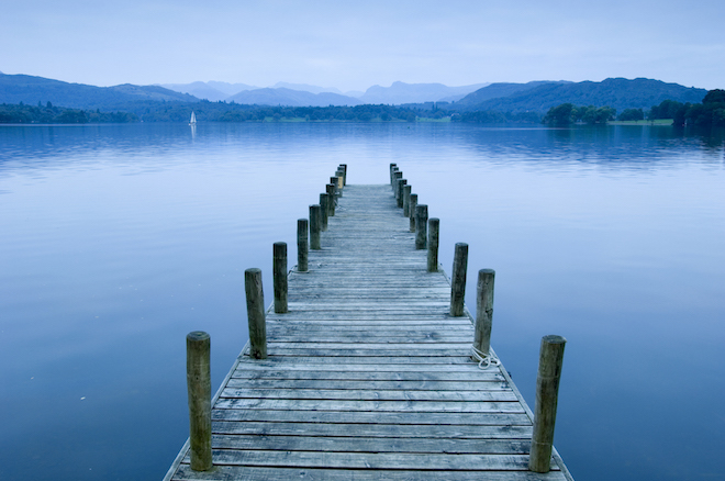 Low Wood Hotel jetty on Lake Windermere in the Lake District.