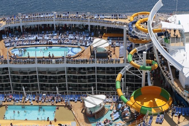 Pool and slide area onboard the world's largest ship