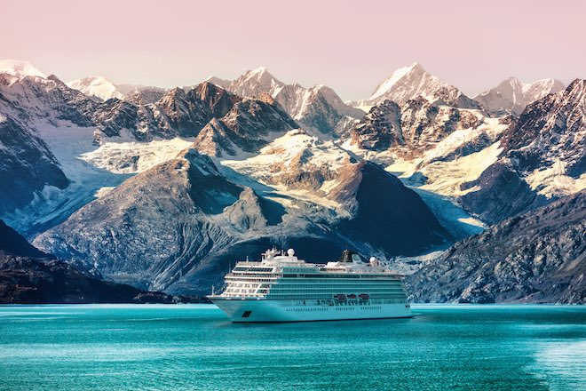 Viking Sun in Alaska's Glacier Bay. Image courtesy Viking Cruises.