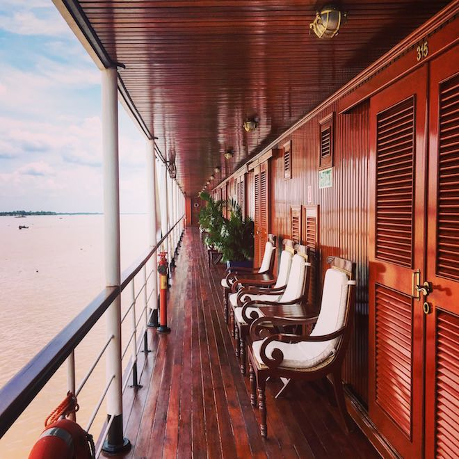 Teak promenade and staterooms, upper deck on RV Mekong Pandaw - Image Ben Alcock