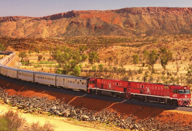 The Ghan travelling the heart of Australia's outback.