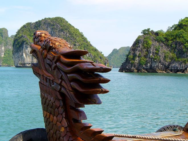 Cruising Halong Bay on locally crafted boats.