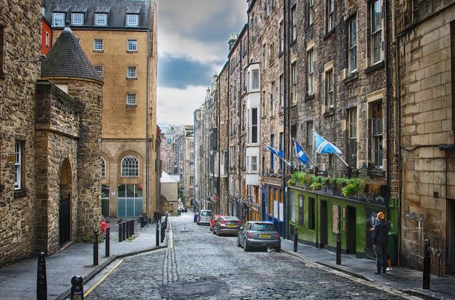 Cobblestone streets of Edinburgh