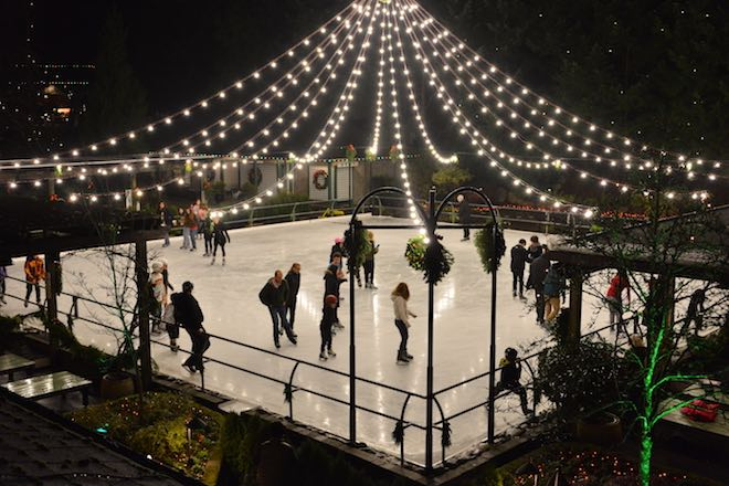 Christmas Lights Ice Skating Rink - Image credit the Butchart Gardens.