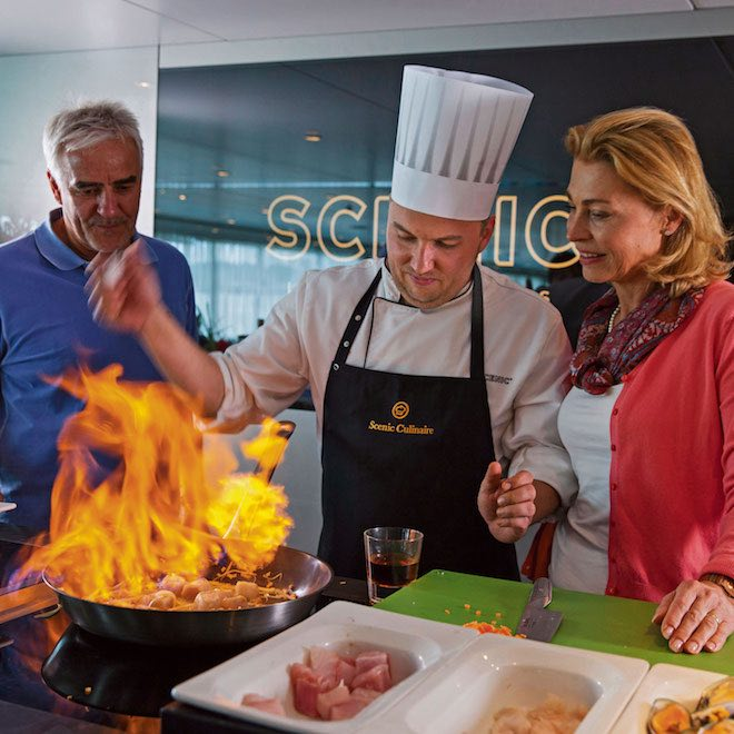 Scenic Culinaire on board cooking demonstration - Image credit Scenic