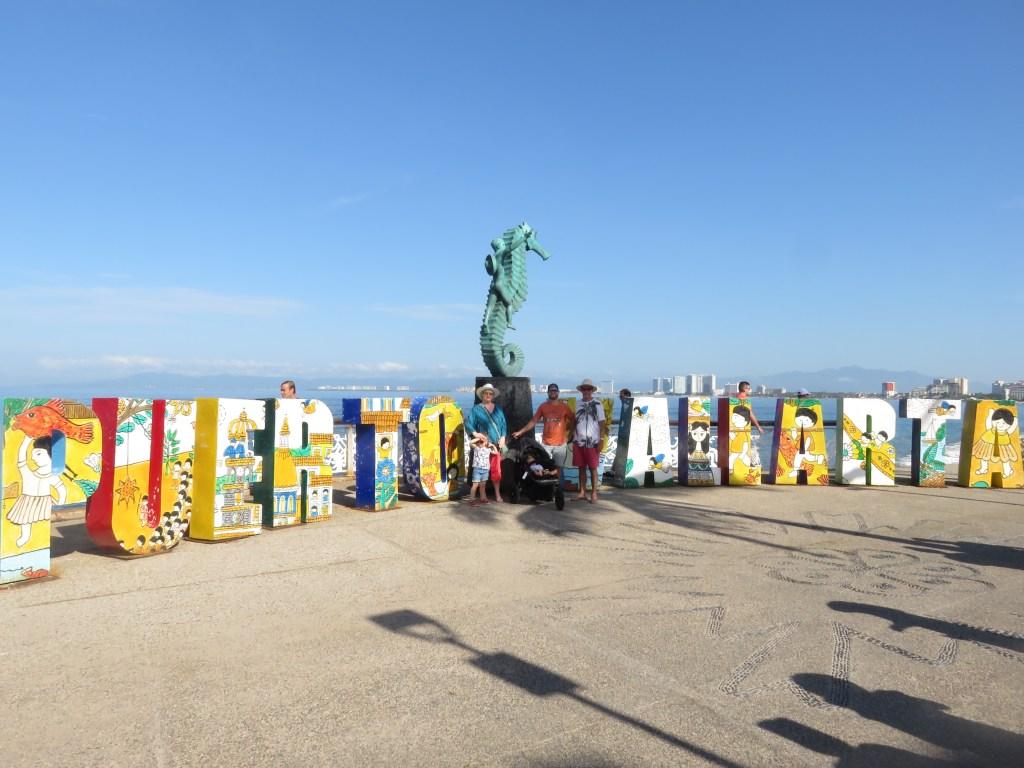 Puerto Vallarta sign on Banderas Bay