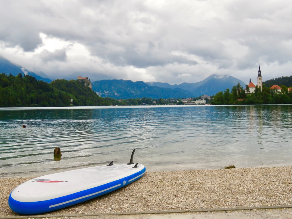 Paddle boarding on Lake Bled