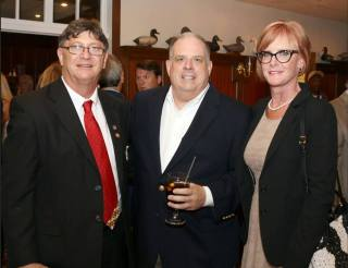 Larry Hogan Maryland Governor visits waterfront restaurant