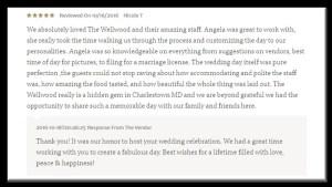 happy client wedding testimonial Wellwood