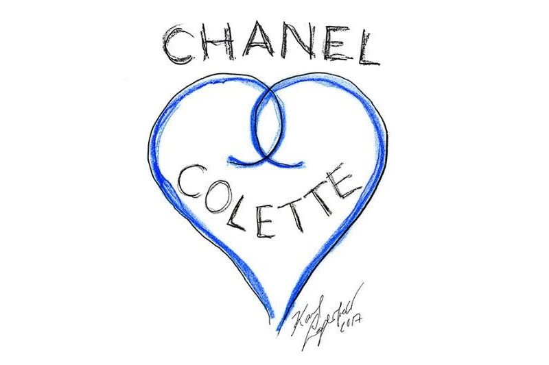 A sketch by Karl Lagerfeld to mark the Chanel residency at Colette.