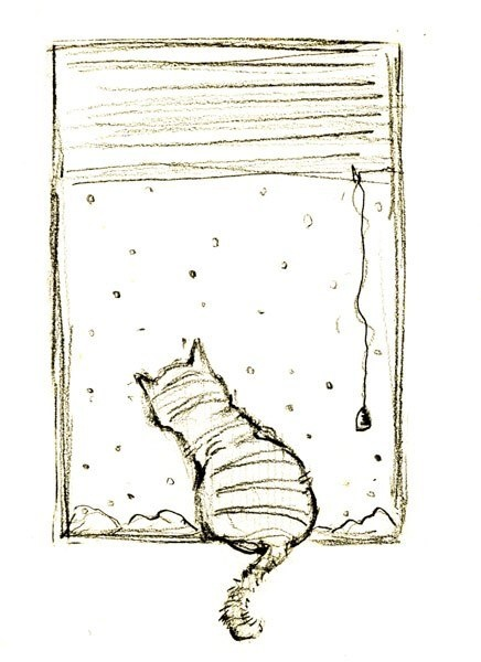 cat drawing snow